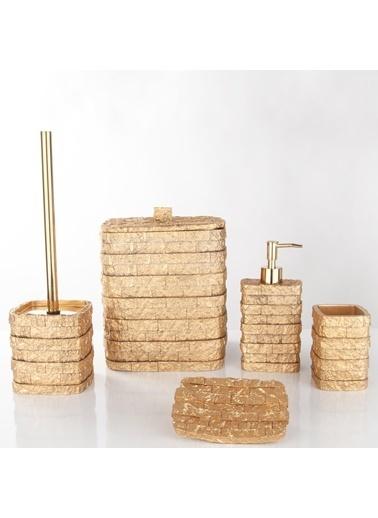 Nazik Home Naturel Doğal Taş Desen Görünümlü 5'li Banyo Seti (1. Sınıf) Altın